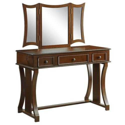 "19"" X 43"" X 54"" Taupe Fabric Cherry Wood Mirror Upholstered (Seat) Vanity Set"