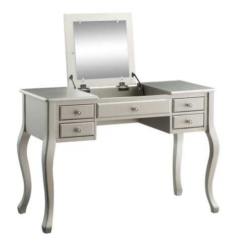 "18"" X 43"" X 47"" PU Silver Wood Mirror Upholstered (Seat) Vanity Set"