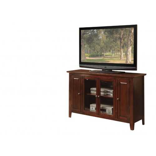 "17"" X 52"" X 33"" Espresso Wood Glass TV Stand for Flat Screen TVs up to 60"""