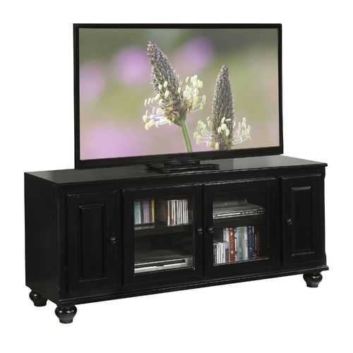 "19"" X 58"" X 26"" Black Wood Glass Veneer (Melamine) TV Stand"