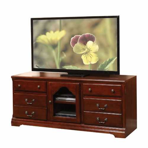 "19"" X 58"" X 26"" Cherry Wood Glass (TV Stand) TV Stand"