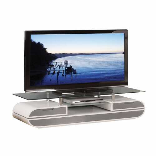 "20"" X 63"" X 16"" White Gray Wood Glass Metal Veneer TV Stand"