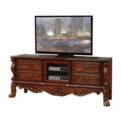 "19"" X 79"" X 31"" Cherry Oak Wood Poly Resin Glass TV Console"