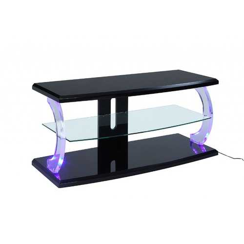 "18"" X 48"" X 22"" Black Clear Glass Wood Glass Veneer (Melamine) TV Stand (LED)"
