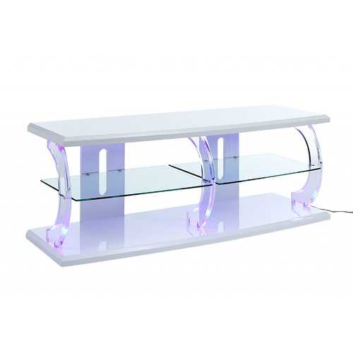 "18"" X 60"" X 22"" White Clear Glass Wood Veneer (Melamine) TV Stand (LED)"