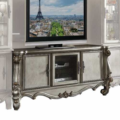 """21"""" X 74"""" X 31"""" Antique Platinum Wood Poly Resin Glass TV Console"""