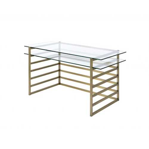"28"" X 56"" X 31"" Antique Gold Clear Glass Metal Desk"