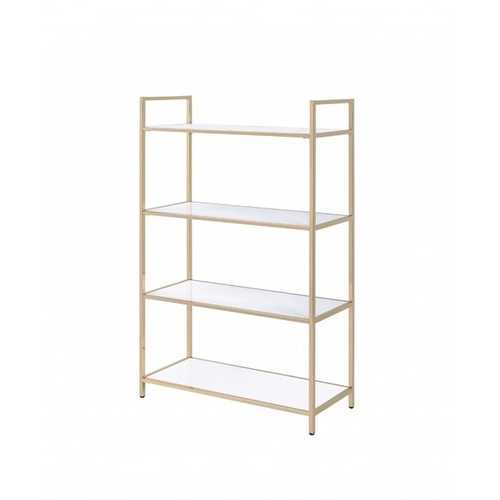 "16"" X 37"" X 60"" White High Gloss Gold Metal Wood Bookshelf"