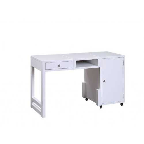 "20"" X 48"" X 30"" White Wood Veneer Desk (Convertible)"
