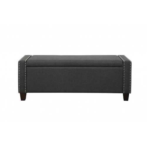 "17"" X 53"" X 19"" Dark Olive Linen Upholstery Wood Leg Bench w/Storage"