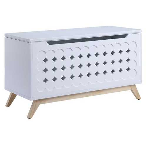 """16"""" X 37"""" X 21"""" White Natural Wood Youth Chest"""