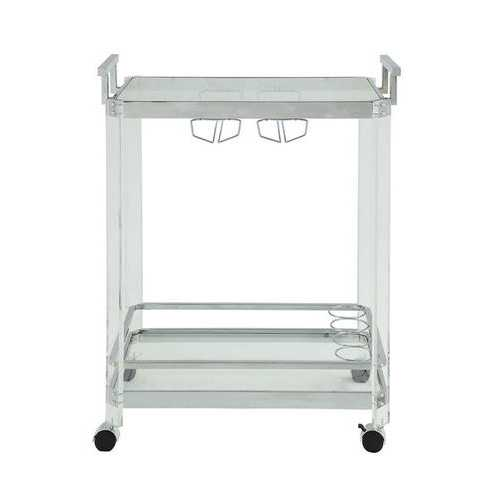 "17"" X 29"" X 35"" Chrome Clear Glass Metal Acrylic Serving Cart"
