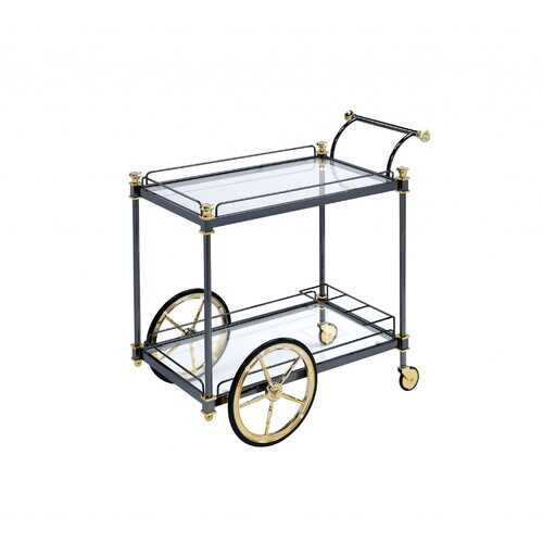 "20"" X 31"" X 31"" Black Gold Clear Glass Metal Casters Serving Cart"