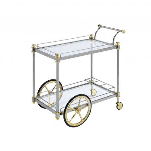 "20"" X 31"" X 31"" Silver Gold Clear Glass Metal Casters Serving Cart"