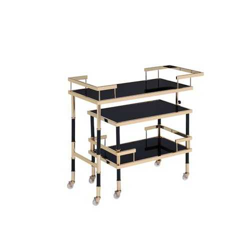 "16"" X 36"" X 34"" Gold Black Smoky Glass Metal Casters Serving Cart"