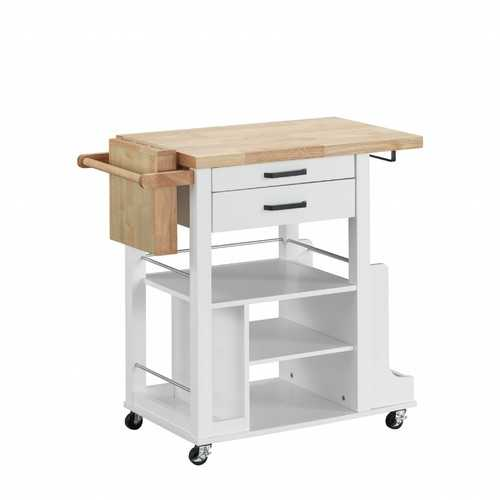 "19"" X 35"" X 35"" Natural White Wood Casters Kitchen Cart"