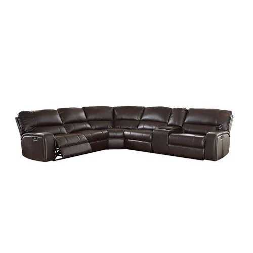 "138"" X 127"" X 41"" Espresso Leather-Aire Upholstery Metal Reclining Mechanism Sectional Sofa (Power Motion/USB Dock)"