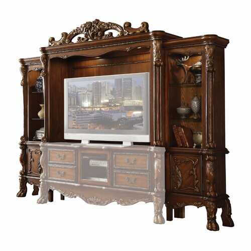 "19"" X 121"" X 90"" Cherry Oak Wood Poly Resin Glass Entertainment Center"