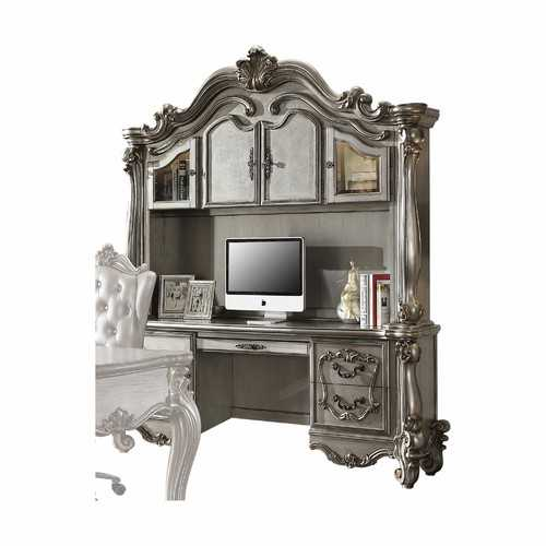 "21"" X 76"" X 92"" Antique Platinum Wood Poly Resin Glass Computer Desk & Hutch"