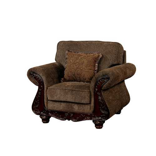 Wooden Frame Fabric Upholstered Chair With Rolled Arms, Brown