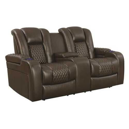 Contemporary Style Padded Plush Leatherette Power Motion Loveseat, Dark Brown