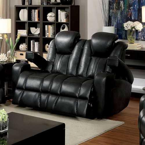 Contemporary Style Love Seat, Dark Gray