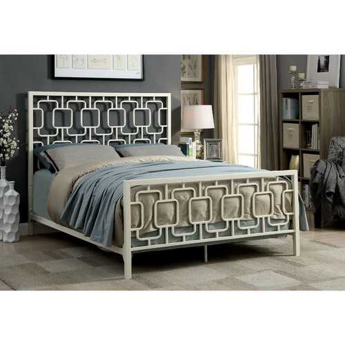 California King Metal Bed with Geometric Pattern Headboard And Footboard, White