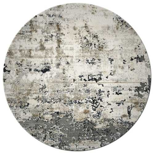 """7'7"""" Round Polyester Ivory/Teal Area Rug"""