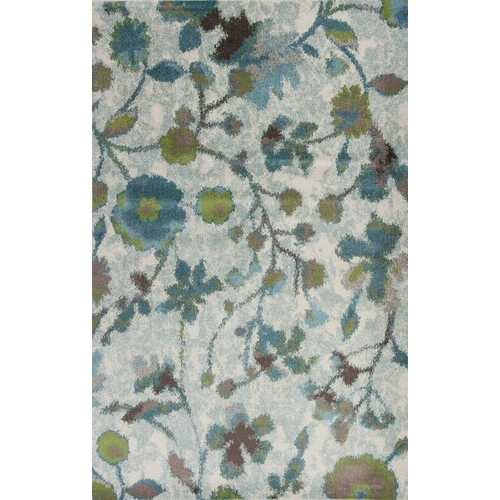 "7'10"" x 10'10"" Polypropylene Teal Area Rug"