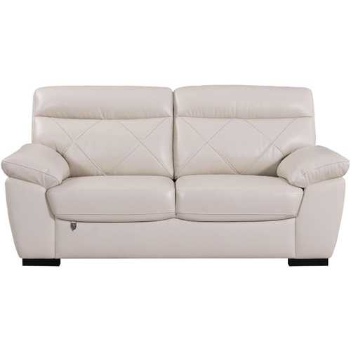 Leatherette Upholstered Wooden Loveseat with Bustle Back and Wooden Legs, Light Gray