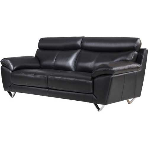 Leatherette Upholstered Wooden Sofa with Plush Bustle Back and Steel Feet, Black