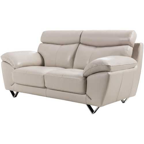 Leatherette Upholstered Wooden Loveseat with Plush Bustle Back and Steel Feet, Light Gray