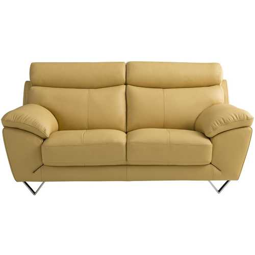 Leatherette Upholstered Wooden Loveseat with Plush Bustle Back and Steel Feet, Yellow
