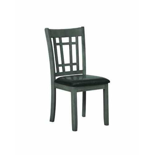 Wooden Dining Chair with Leatherette Seat, Gray and Black, Set of Two