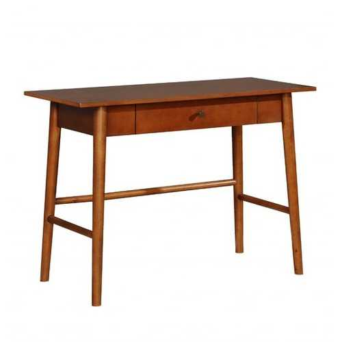 Transitional Wooden Desk with Angled Legs and Spacious Drawer, Brown