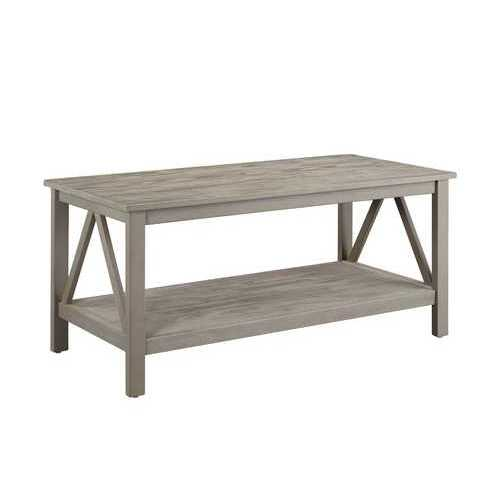 Wooden Rectangular Coffee Table with Inverted V Design Sides, Gray