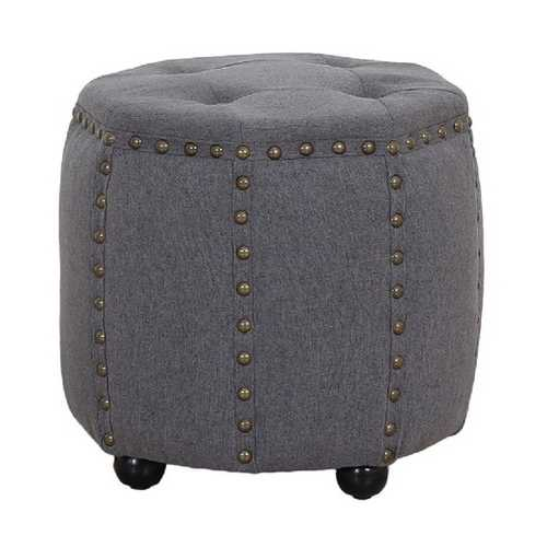 Tufted Fabric and Wooden Ottoman with Nailhead Rim and Sides, Gray
