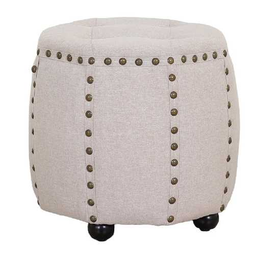 Tufted Fabric and Wooden Ottoman with Nailhead Rim and Sides, Beige