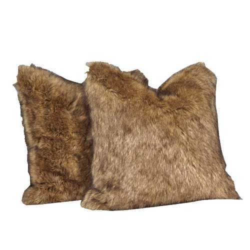 4 Piece Faux Fur Decorative Pillow with Down Feather Filling, Brown