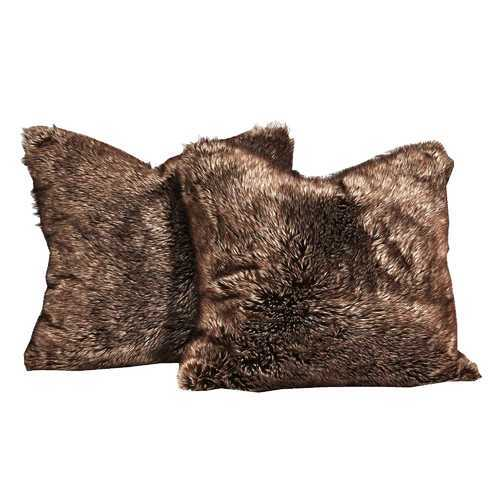 4 Piece Square Faux Fur Pillow with Down Feather Filling, Sable Brown