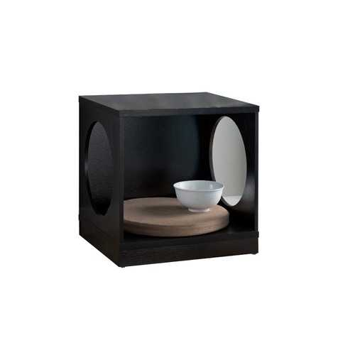 Wooden Pet End Table with Flat Base and Cutout Design on Sides, Black