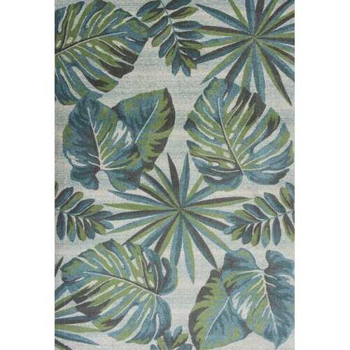"5'3"" x 7'7"" Polypropylene Teal/Green Area Rug"
