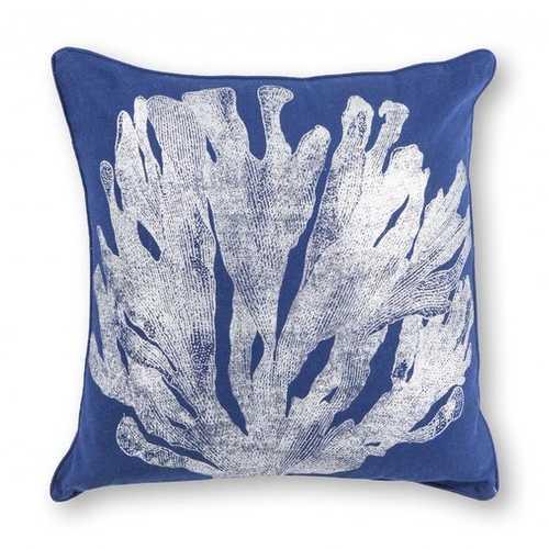 "18"" x 18"" Cotton Blue/Silver Pillow"