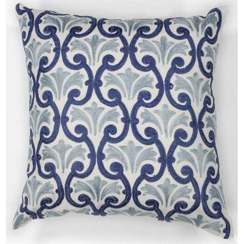 "18"" x 18"" Cotton Ivory/Blue Pillow"