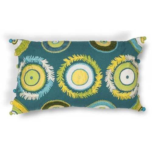 """12"""" x 20"""" Cotton Blue-Green Pillow"""