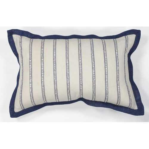"12"" x 20"" Cotton Ivory/Blue Pillow"