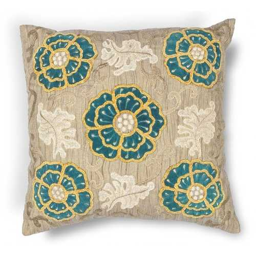 "20"" x 20"" Polyester Taupe-Teal Pillow"