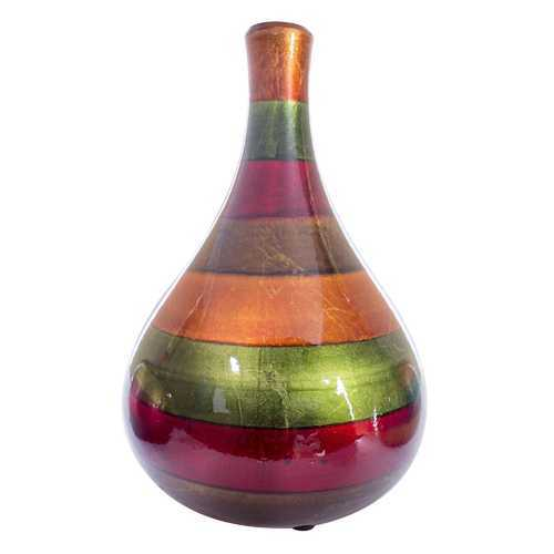 "7"" X 7"" X 11"" Green Red Brown Copper Ceramic Lacquered Striped Teardrop Bud Vase"