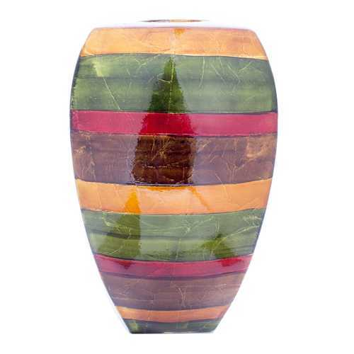 "10"" X 7"" X 18"" Green Red Brown Copper Ceramic Lacquered Striped Large Tapered Modern Vase"