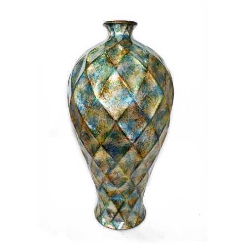 "11"" X 11"" X 20"" Green Gold Orange Ceramic Foiled & Lacquered Faceted Plum Vase"